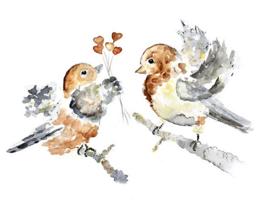 500x400 Love Birds Nursery Art, Brown Nursery Decor, Cute Watercolor Birds