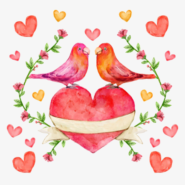 650x651 Ink Watercolor Pink Love Lovebirds, Ink, Watercolor, Hand Painted