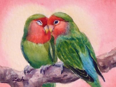 400x300 Janet Zeh Original Art Watercolor And Oil Paintings Love Birds