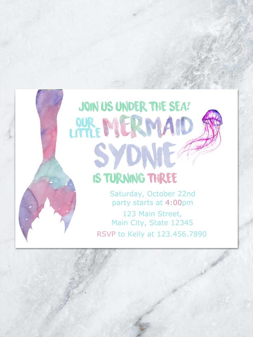 833x1110 Mermaid Birthday Invitation, Under The Sea Mermaid Tail, Mermaid