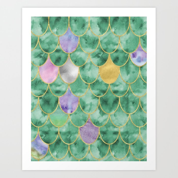 700x700 Mermaid Tail Watercolor Art Print By Designswifthome Society6
