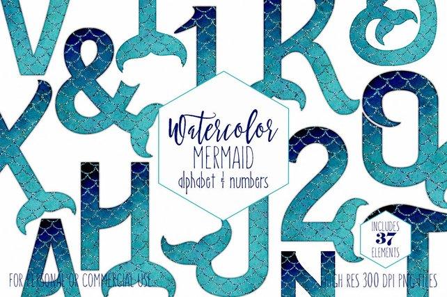642x427 Watercolor Mermaid Tail Alphabet Clipart Ocean Girls Birthday Etsy