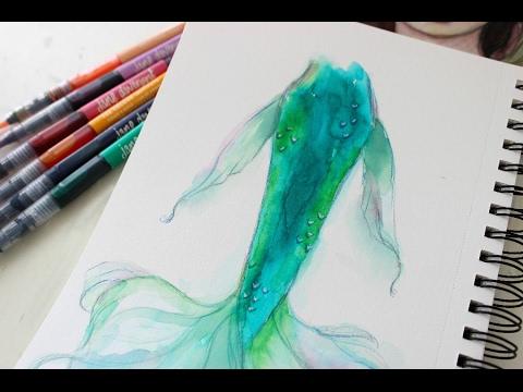 480x360 Watercolor Mermaid Tail Tutorial With Mermaid Markers