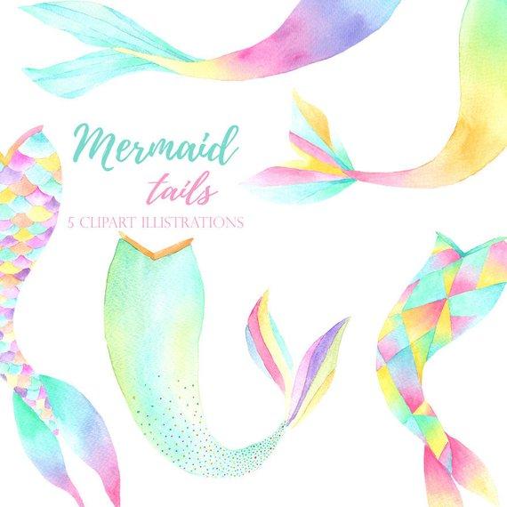 570x570 Watercolor Mermaid Clipart Mermaid Tail Graphics Mermaid Etsy