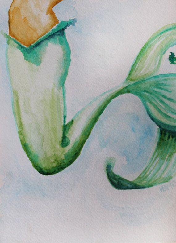 570x784 Fine Art Print, Watercolor, Mermaid, Fishtail, 8x10 Watercolor