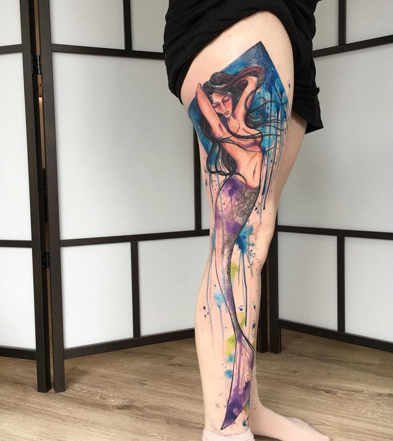 800x897 Mermaid Full Leg Watercolor Best Tattoo Design Ideas