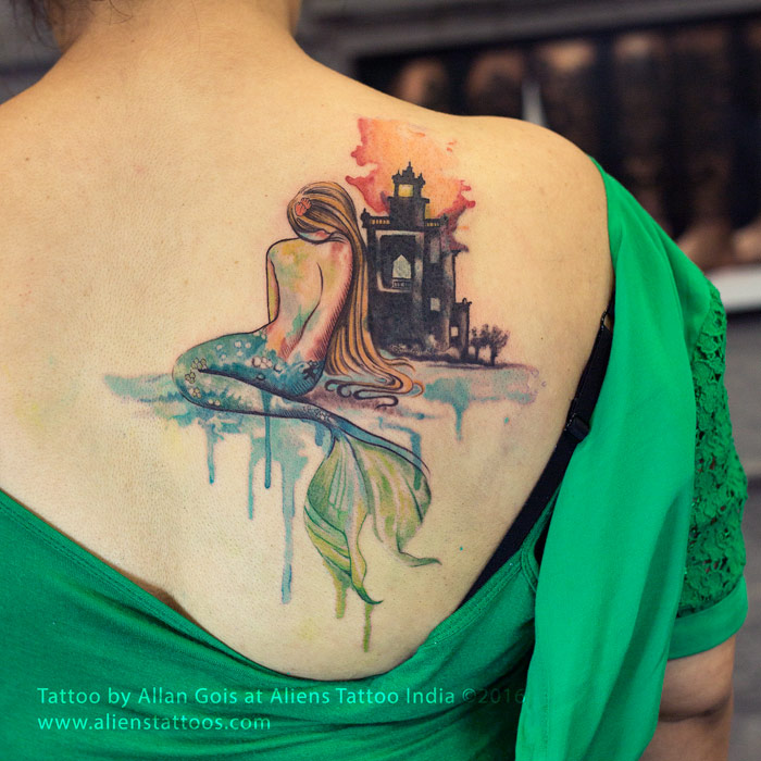 700x700 Watercolor Mermaid Tattoo By Allan Gois