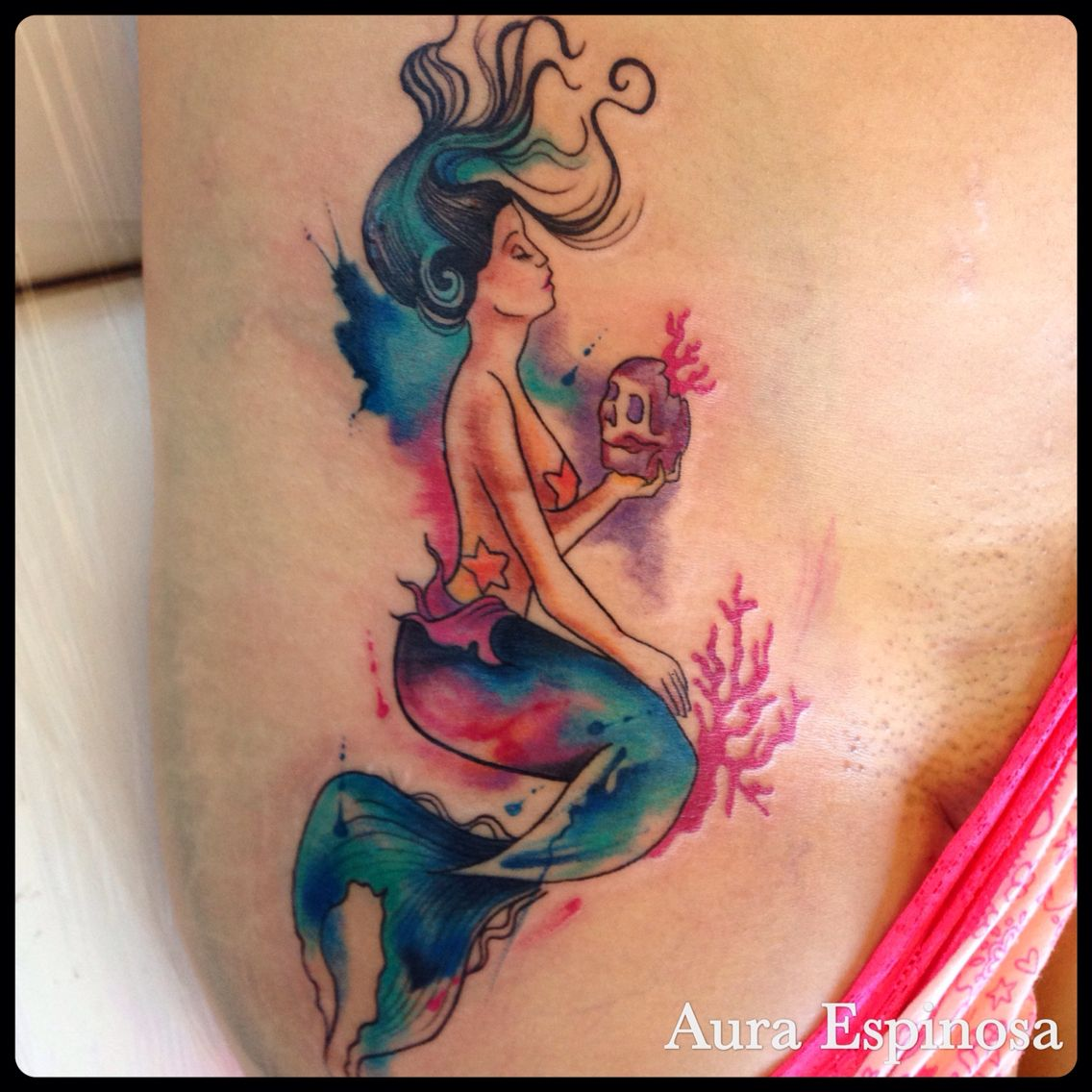 1136x1136 Watercolor Mermaid Tattoo Done By Our Resident Artist Aura