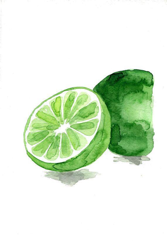 570x844 Lime Art Print, Lime Watercolor Print, Green, Citrus Print