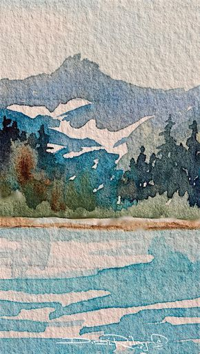 290x513 July Watercolor Paintings I Mountain Landscape