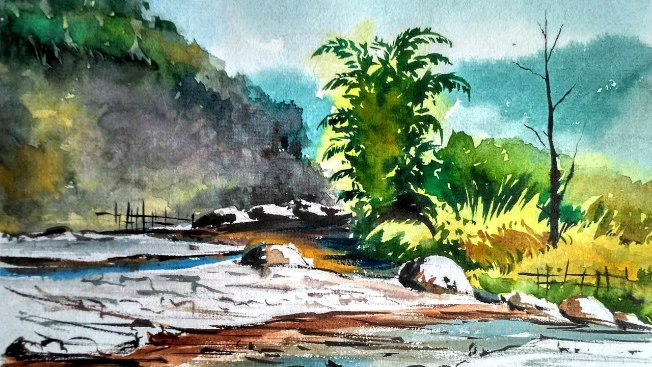 1280x720 Mountain River Watercolor Landscape Painting Paint With David