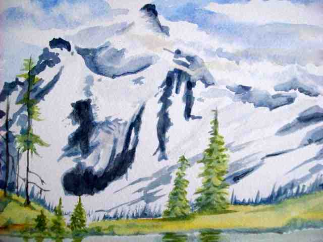 640x480 Avalanch Rocky Mountains Landscape Watercolor Painting Rebecca