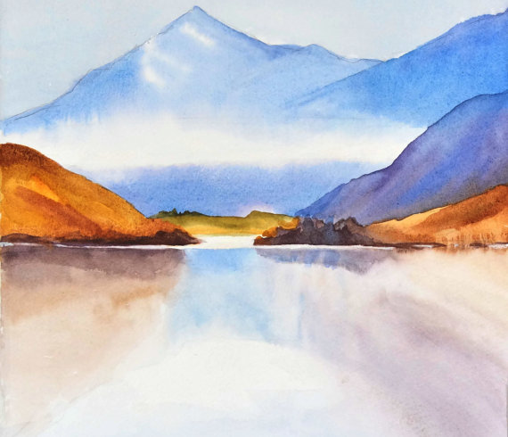 570x490 Photos Watercolor Mountain Landscapes,