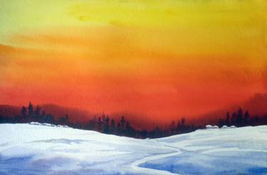 375x247 Sunset Amp Winter Snowy Mountain Landscape Watercolor On Paper