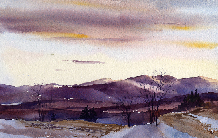 764x484 Taconic Mountains From Mt Anthony Watercolor Landscape