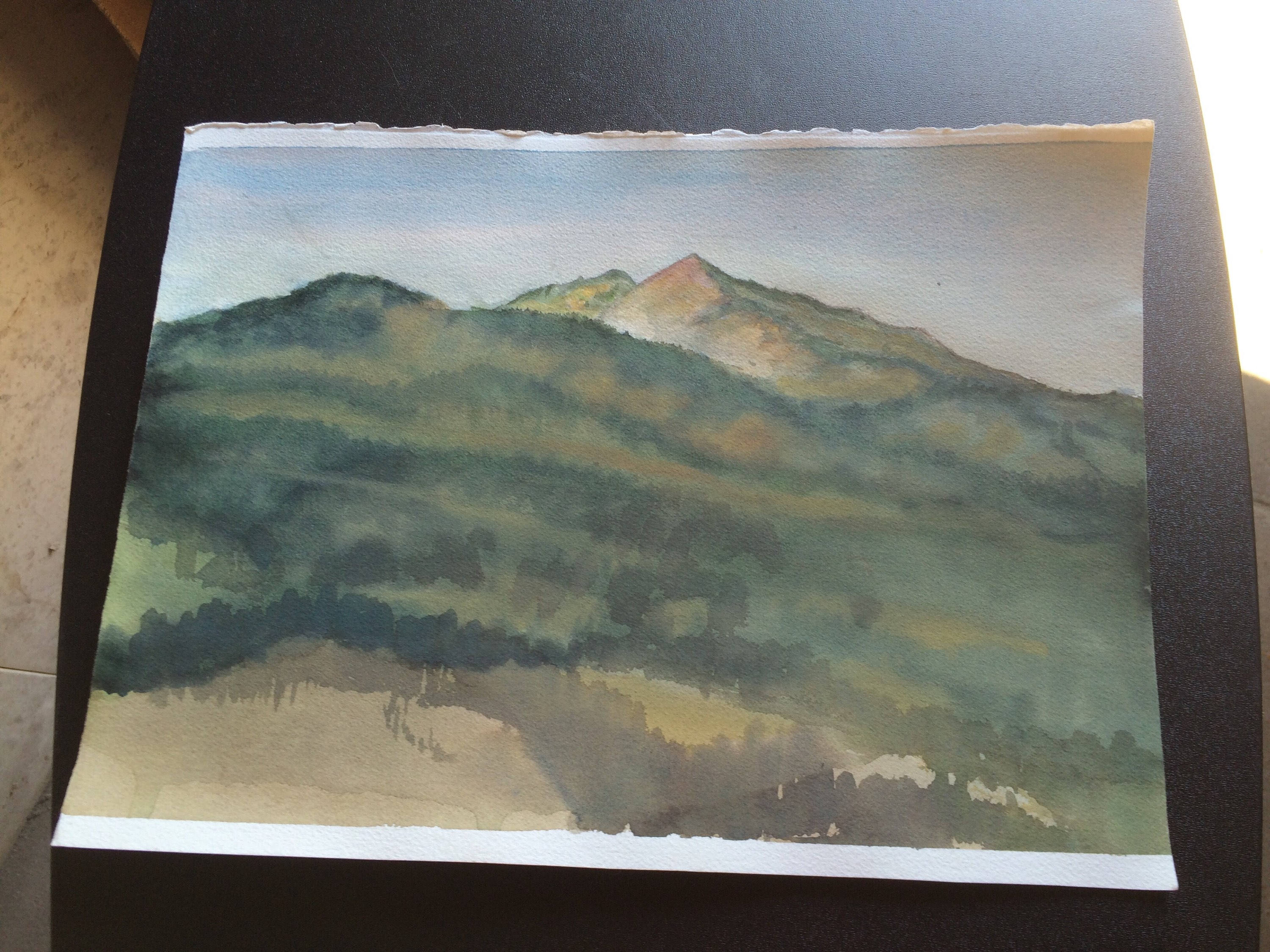 3000x2250 Vintage Watercolor Painting Beautiful Mountain Landscape Unframed