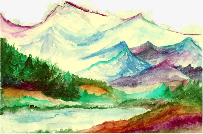 650x429 Watercolor Mountain Landscape, Decoration, Watercolor, Mountain