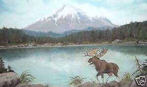 300x178 Bonnie Reitz Snow Mountain Landscape Lake Watercolor Moose