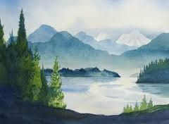 240x176 Watercolor Landscape Idea. Reminds Me Of Pacific Northwest