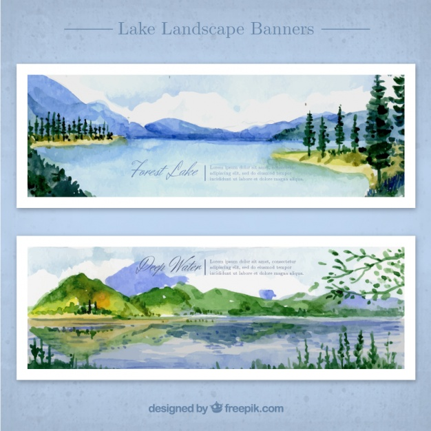 626x626 Watercolor Landscapes With Lake And Mountains Vector Free Download