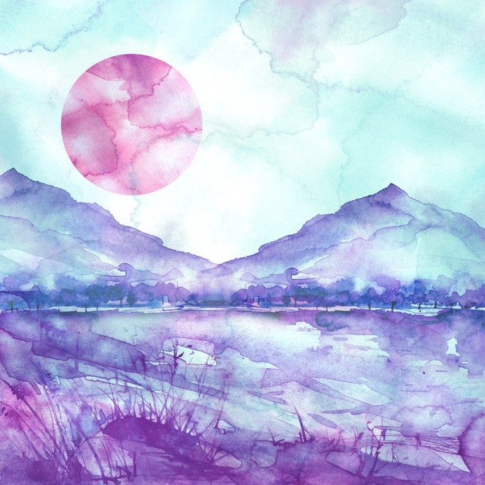 700x700 Watercolor Mountain Landscape, Blue, Purple Mountains, Peak