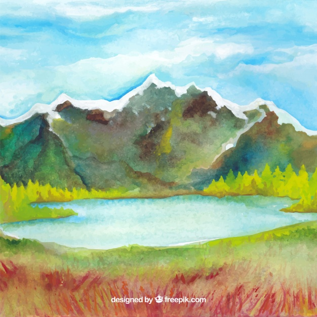626x626 Watercolor Mountain Landscape Background Vector Free Download