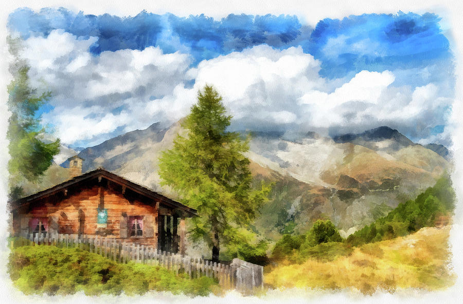 900x591 Chalet In Mountain Landscape Swiss Alps Switzerland Aquarell