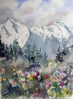 Watercolor Mountain Scene