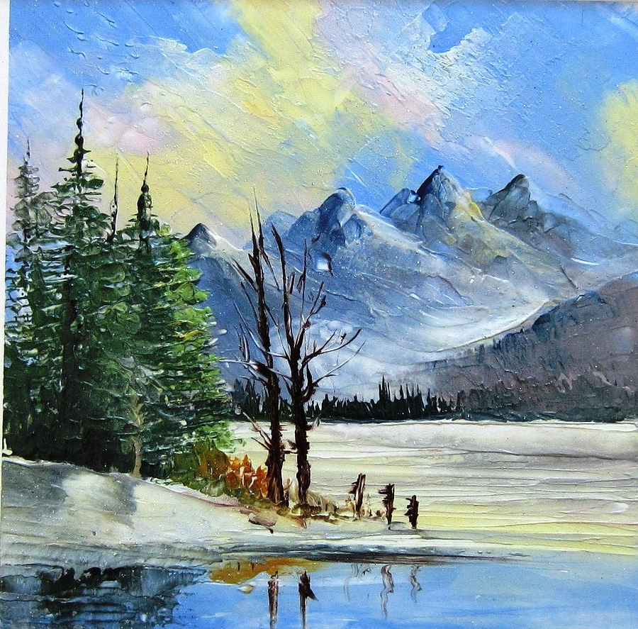 900x887 Mountain Scenes In Watercolor 1130b Mountain Lake Scene Ceramic