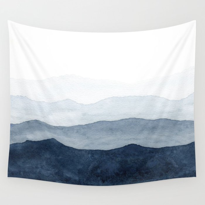 700x700 Indigo Abstract Watercolor Mountains Wall Tapestry By Ccartstudio