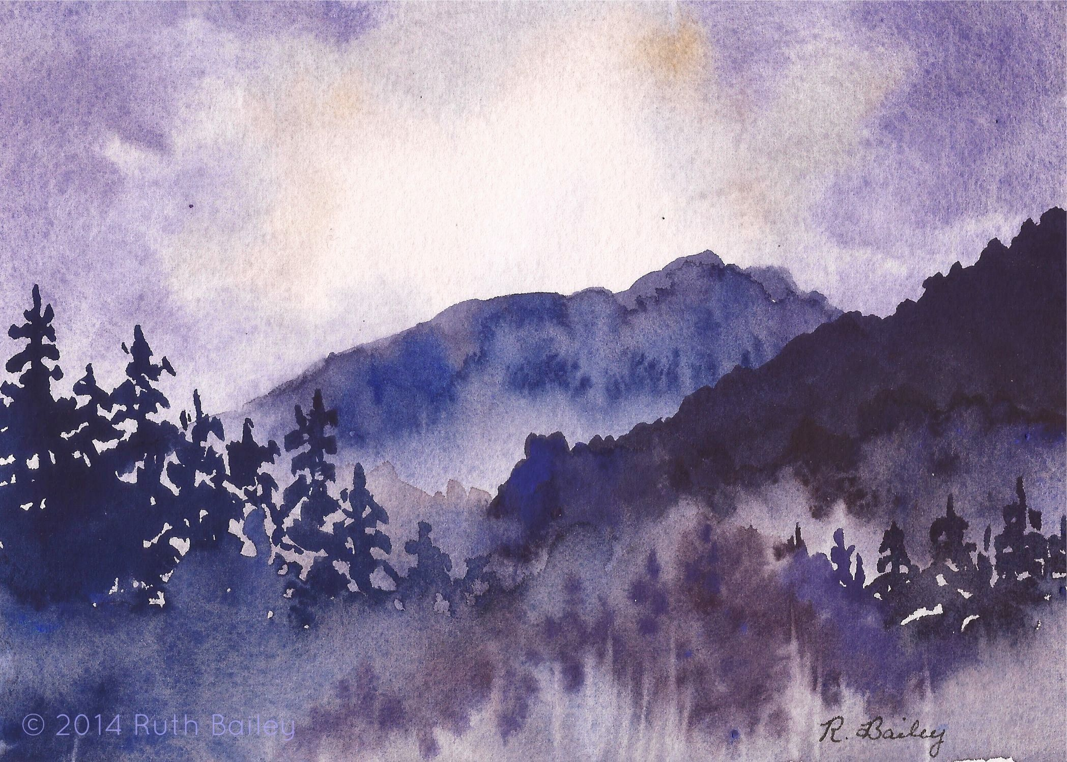 2097x1498 Mist In The Mountains Fine Arts Watercolor