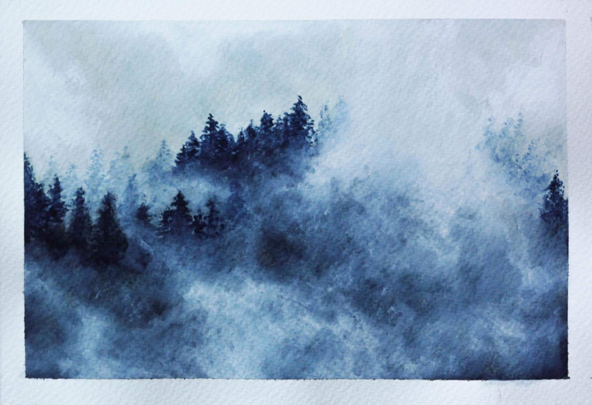 2048x1403 Misty Mountains, Watercolor, 5,5x8,5 Art