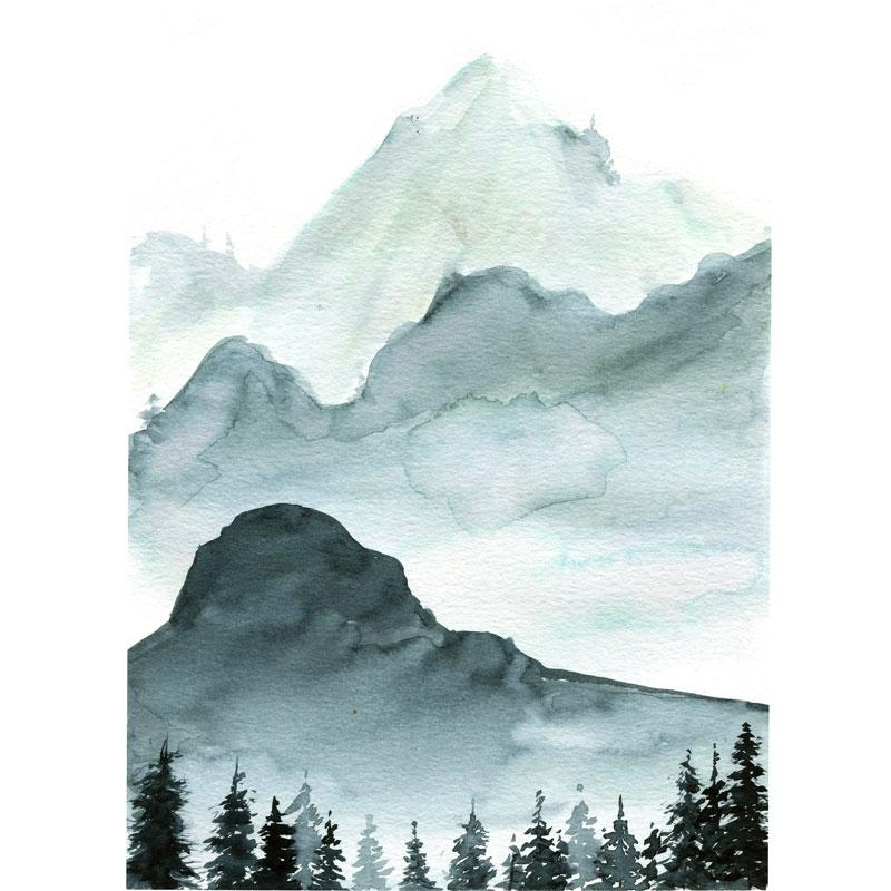 800x800 Monochromatic Mountainscape With Watercolor