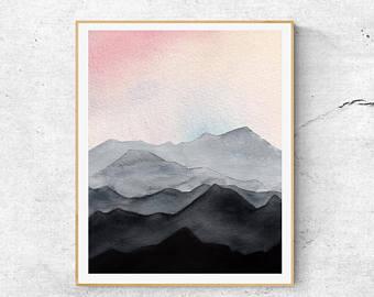 340x270 Mountain Watercolor Etsy