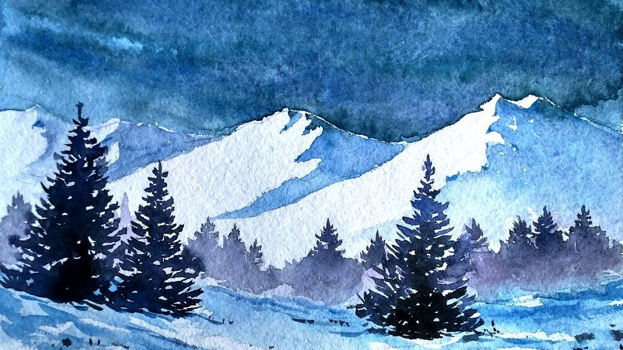 1280x720 Snowy Blue Mountains With Watercolor Paint With David
