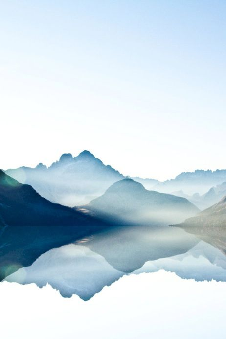 462x693 Surreal Photo. Art. Watercolor. Mountains. Reflection. Dreamy