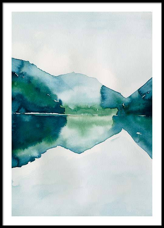 540x750 Watercolor Mountain Reflection Poster