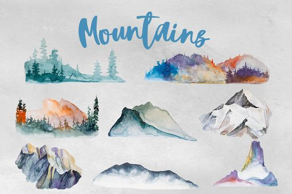 570x379 Watercolor Mountains Clipart Etsy