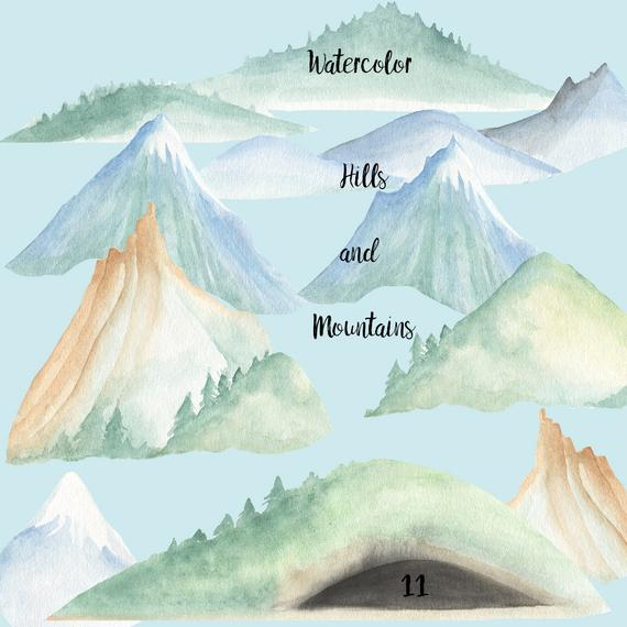 570x570 Watercolor Mountains And Hills Clip Art Woodland Hills Snow Etsy