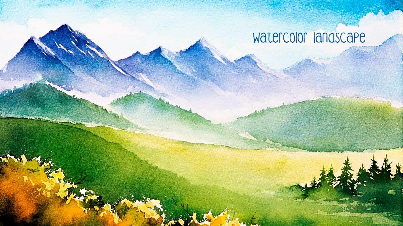 1280x720 Watercolor Mountains.
