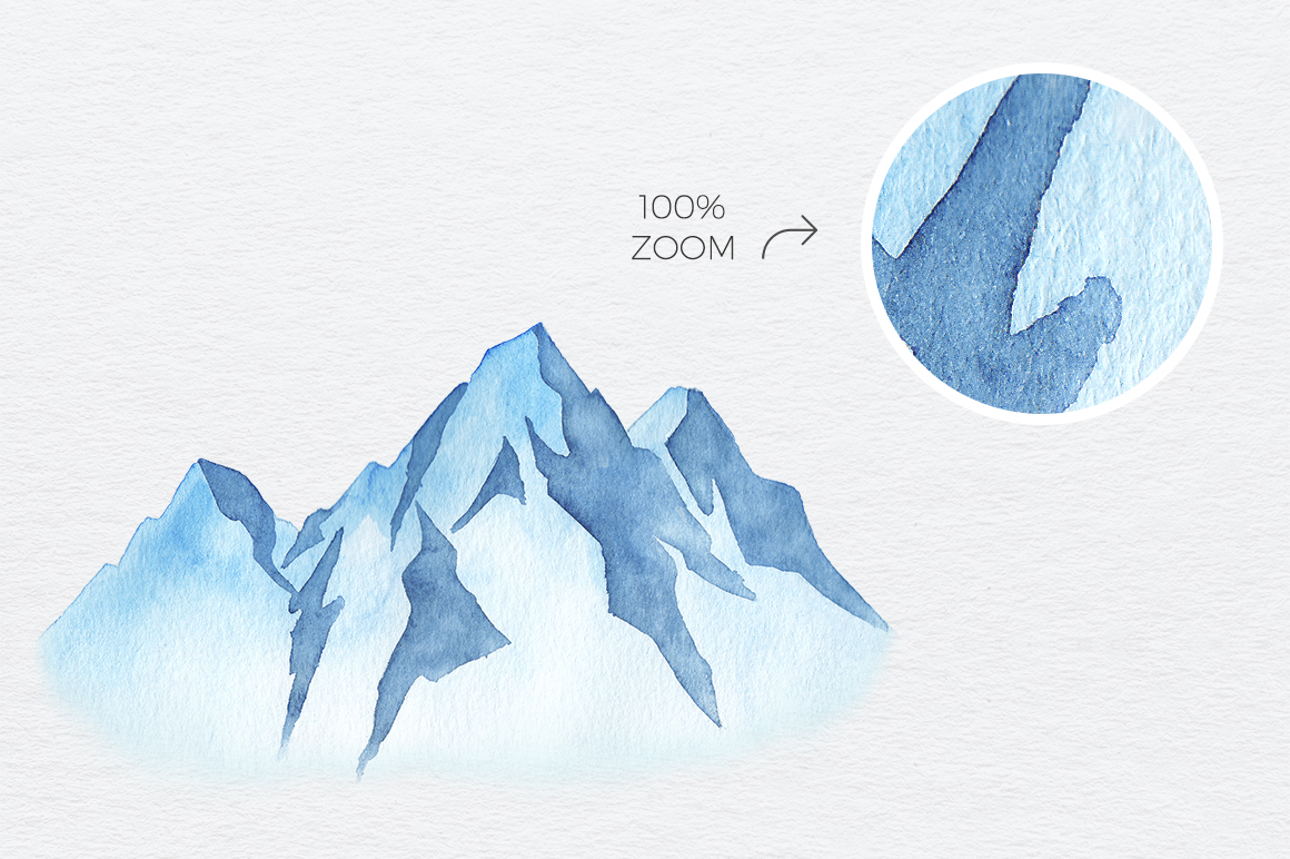 1160x772 Winter Mountains Watercolor Set By Draw Wing Zen