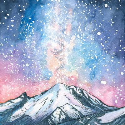400x400 Winter Watercolor Painting The Peaks, North Cascades Institute