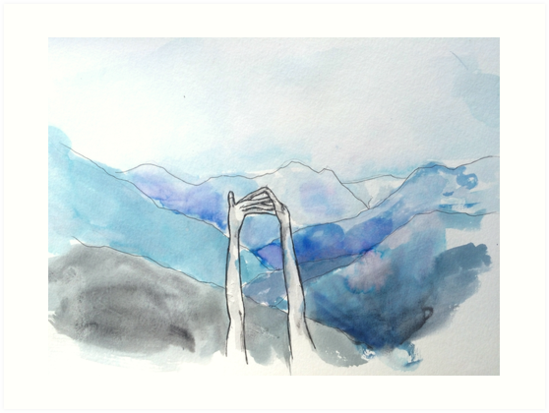 549x413 Hands Watercolor Mountains Illustration Art Prints By Dianalea