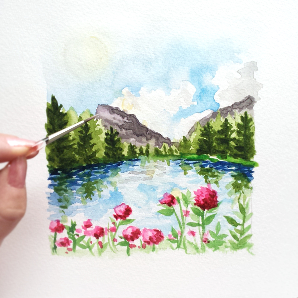 1200x1200 Custom Hand Painted Watercolor Landscape Suite Custom Watercolor