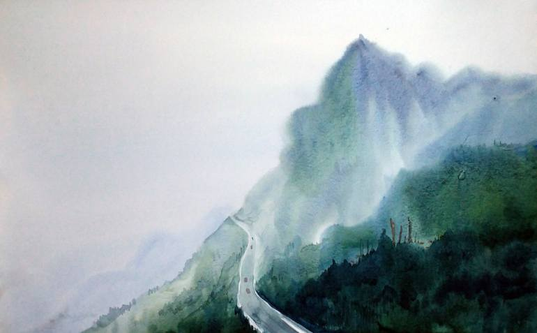 770x477 From Top View Mountain Road Watercolor On Paper Painting By
