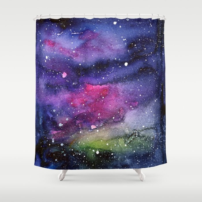 700x700 Galaxy Watercolor Night Sky Painting Nebula Art Shower Curtain By