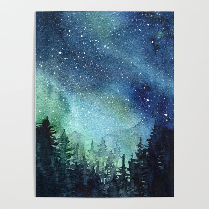 700x700 Galaxy Watercolor Space Night Sky Nebula Painting Aurora Poster By