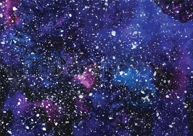 800x566 Hand Painted Watercolor Cosmic Texture With Stars. Space, Starry