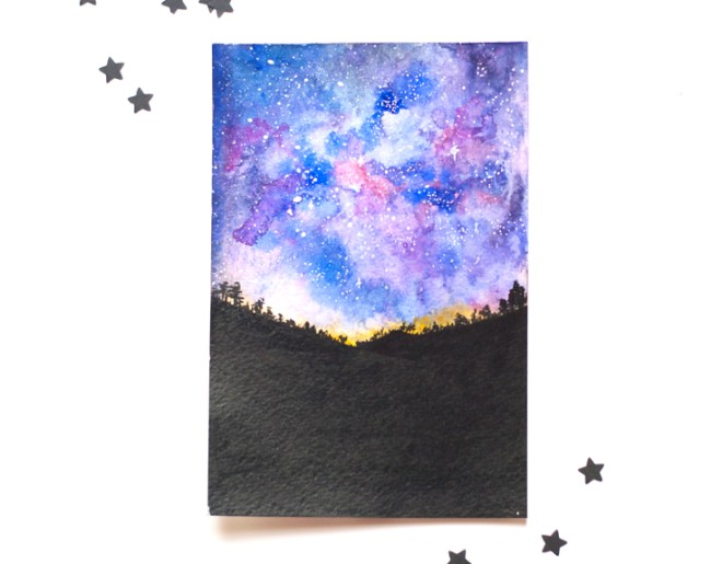 660x515 How To Paint A Watercolor Galaxy, Nebula And Night Sky 10 Tutorials