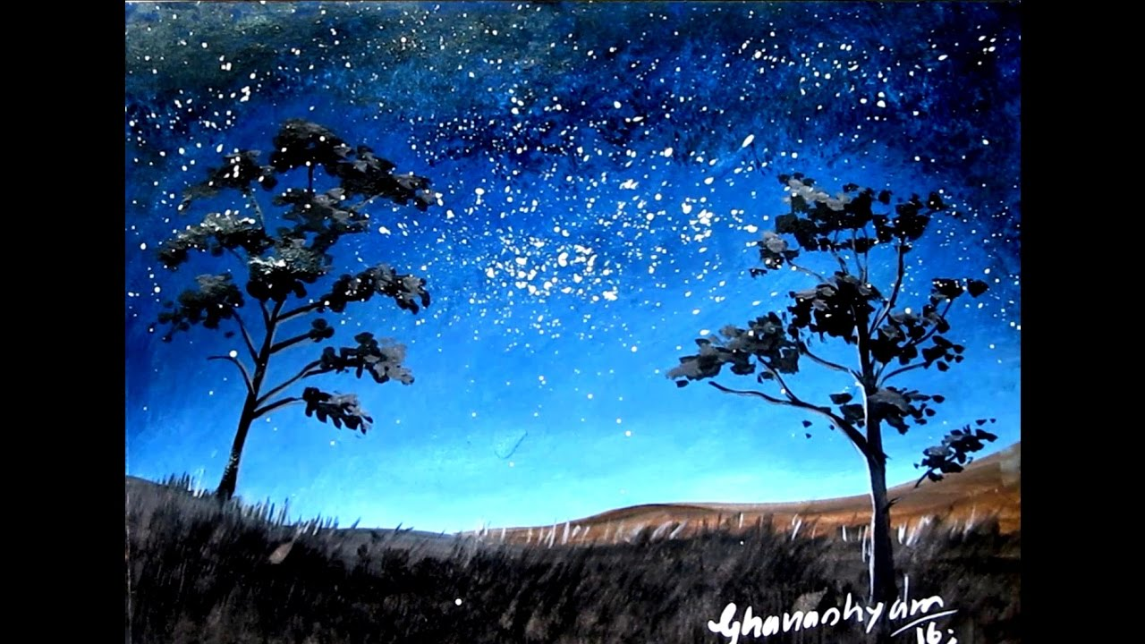 1280x720 How To Paint A Night Sky Painting With Watercolor Paint With
